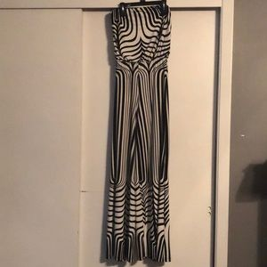 Black and white patterned jumpsuit.